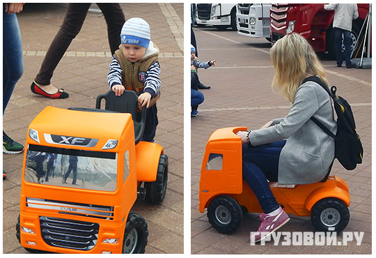 На выставку пришли молодые любители грузовиков и люди более солидного возраста